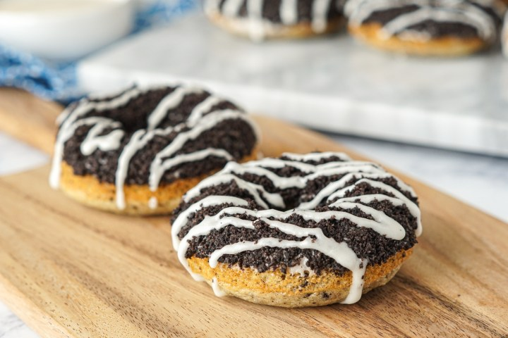 Baked Cookies and Cream Doughnuts with a Cream Cheese Drizzle