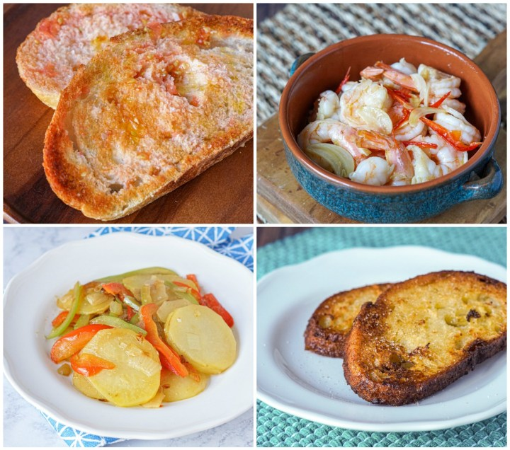Other dishes from Barcelona Cult Recipes: Pan amb Tomaquet (Pan con Tomate, Bread with Tomato), Gambas al Ajillo (Prawns in Garlic Sauce), Patatas al Pobre (Poor Man's Potatoes), and Torradetes de Santa Teresa (Torrijas con Vino, Drunken French Toasts).