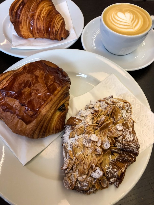 Croissants and latte from Democratic Coffee