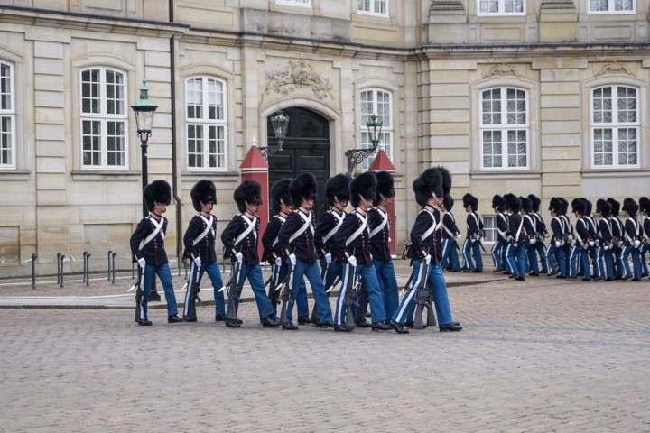 Royal guard in formation outside Amalienborg
