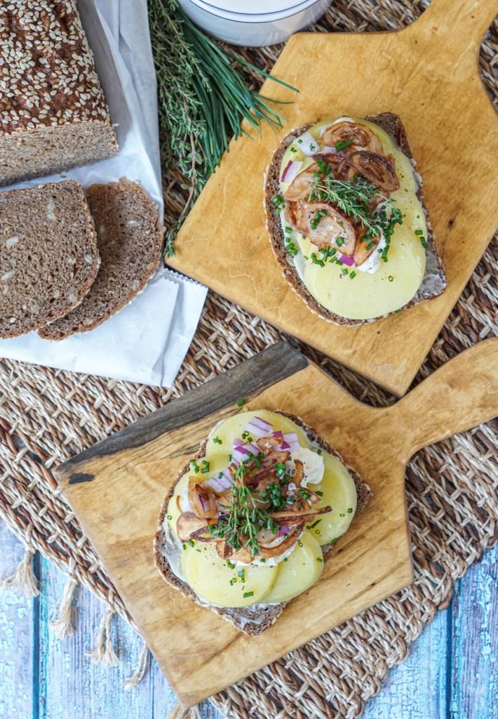 Kartoffelmad (Danish Potato Sandwich) with Rugbrød