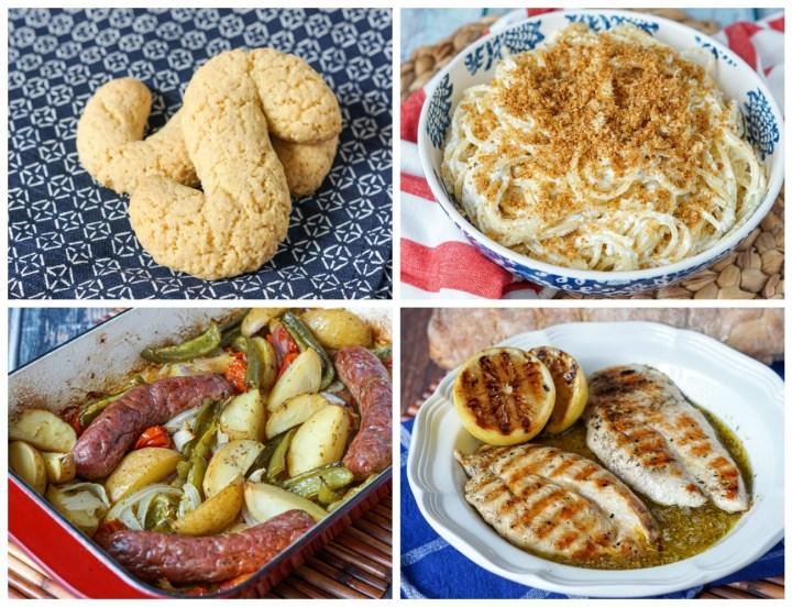 """Other dishes from Feast of the Seven Fishes: """"S"""" Biscotti, Pasta del Fornaio, Salsiccie al Forno, and Pollo alla Griglia con Limone e Origano."""