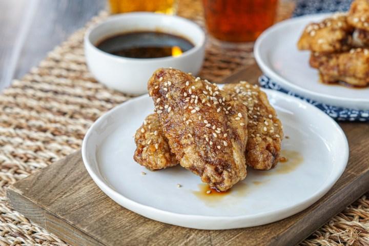 Honey Sesame Chicken Wings with beer