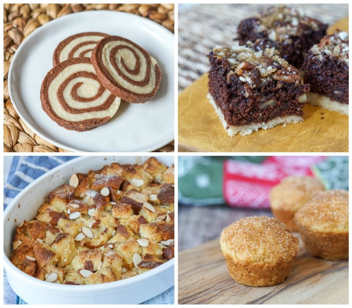 Other dishes from New York Christmas Baking: Pinwheel Cookies; Chocolate, Pecan & Salted Caramel Squares; Bread Pudding; and Buttermilk Breakfast Puffs.