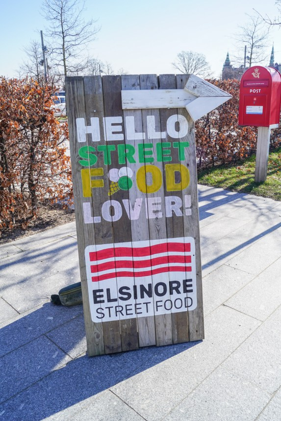 Sign outside of Værftets Madmarked- Hello Street Food Lover! Elsinore Street Food.