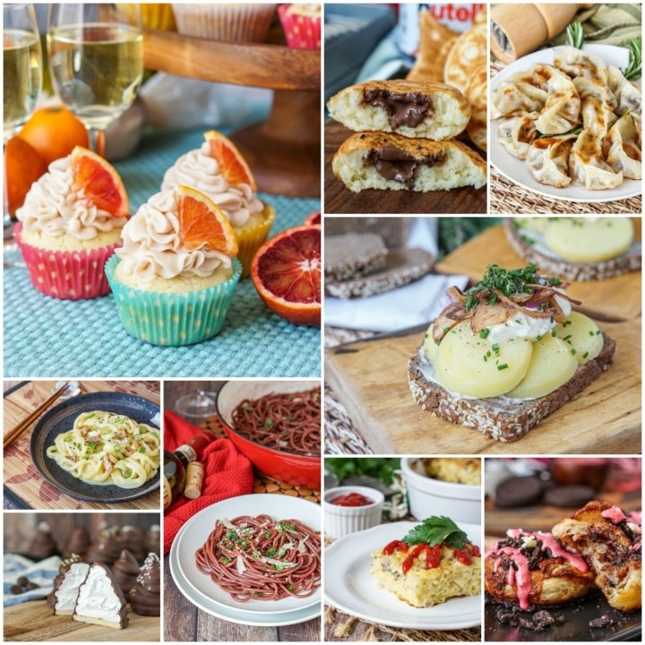 Collage photo of favorite recipes in 2019: cupcakes, Nutella taiyaki, gyoza, kartoffelmad, mustafarian lava rolls, Finnish macaroni casserole, red wine pasta, flødeboller, and miso carbonara udon.