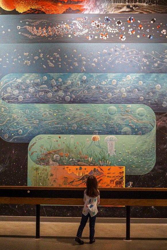 Looking at a mural inside the La Brea Tar Pits of dinosaurs, jellyfish, up to a volcano and lava.