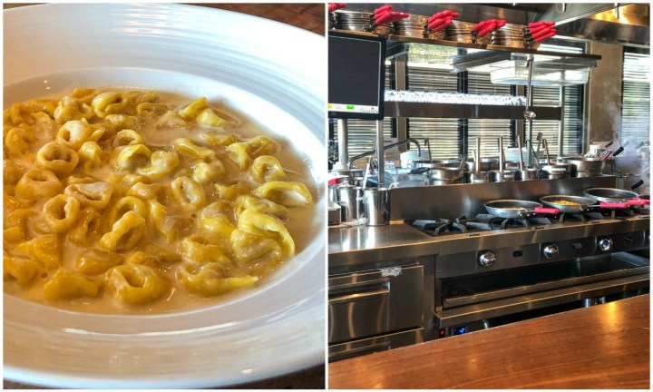 Tortellini in cream in a white bowl and the kitchen at Uovo