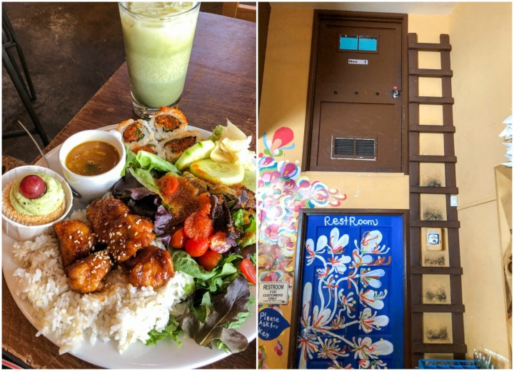 Chicken teriyaki plate at Yuko Kitchen with rice, salad, cupcake, sushi, and soup. Blue restroom door with painted floors next to a brown ladder and brown door over the top.