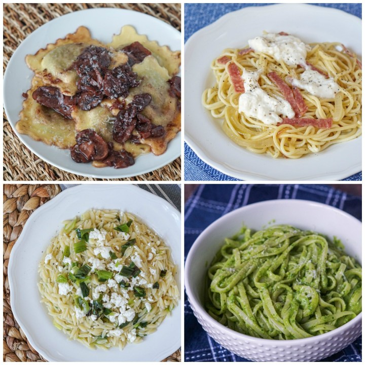 Other Dishes from Simple, Elegant Pasta Dinners: Ravioli with Port Wine and Mushroom Sauce, Fresh Spaghetti with Crisp Salami and Burrata, Orzo with Crispy Scallions and Goat Cheese, and Spinach and Avocado Linguine.