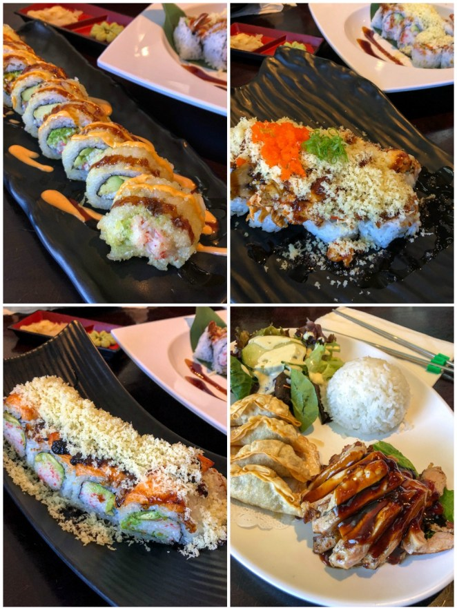 Cali Tempura Roll, Southbay Roll, Shrimp Tempura Roll, Lomita Roll, and Kids Chicken Teriyaki from Sushi Delight.