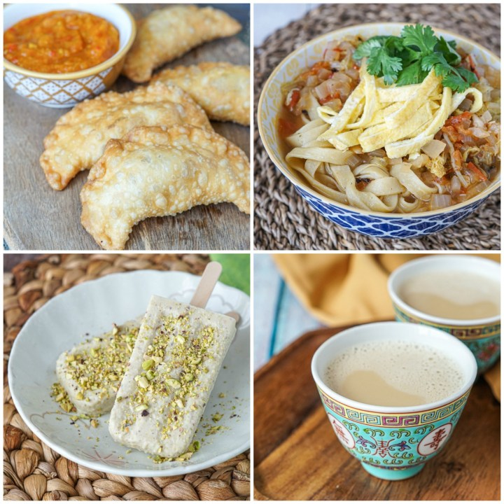 Other dishes from Lands of the Curry Leaf: Fried Leek Pastries, Thukpa (Tibetan Vegetable Noodle Soup), Kulfi (Cardamom Iceblock), and Sura Butter Tea.