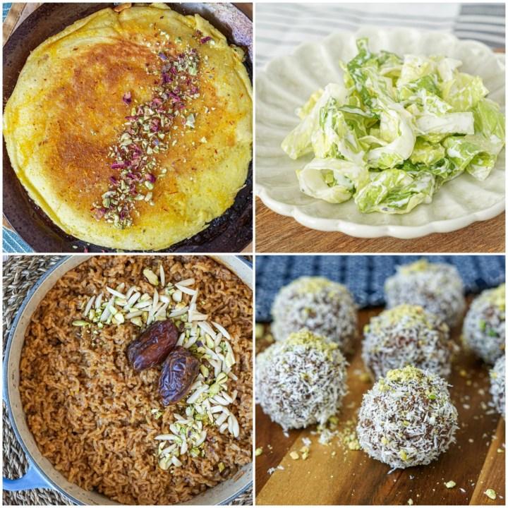 Other dishes from Cooking in Iran: Saffron Omelet with Rose Petals (Khagineh-ye Tabrizi), Lettuce + Yogurt Salad (Borani-e Kahu-ye Kordi), Rice Steamed in Date Molasses (Shireh-ye Korma Polow), and Persian Gulf Date + Coconut Balls (Bontu).