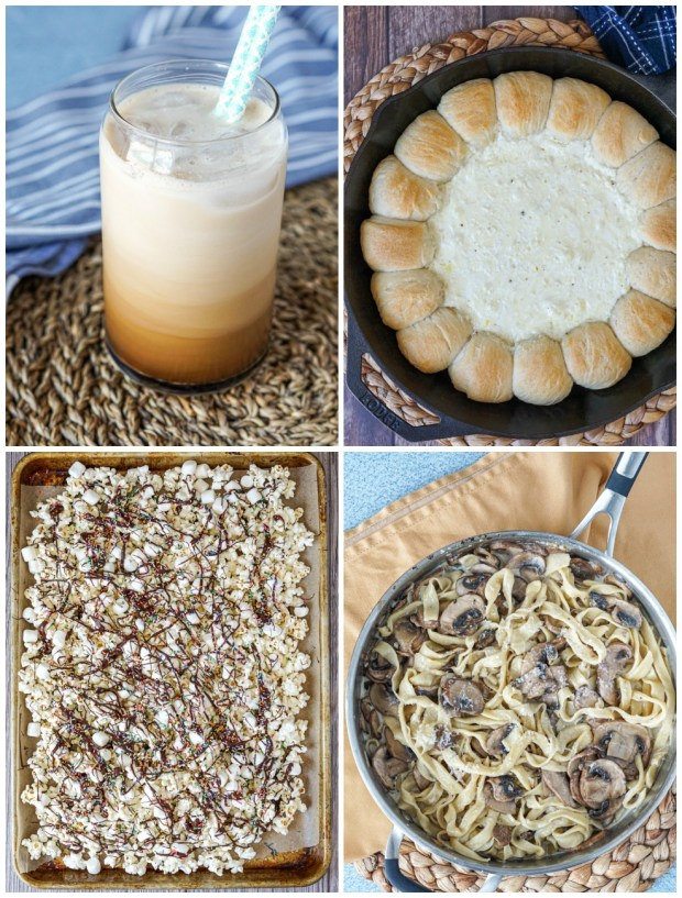 Other dishes from The Complete 5-Ingredient Cookbook: Homemade Frizz Coffee, Baked Biscuit Wreath with Garlic Dip, Hot Chocolate Popcorn with Marshmallows and Sprinkles, and Mushroom Fettuccine with Shaved Parmesan.