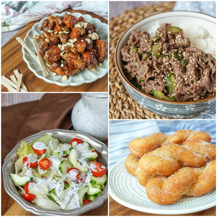 Other dishes from Korean Cooking Favorites: Dakgangjeong (Crispy Korean Chicken Nuggets), Sogogi Ooi Dupbap (Beef and Cucumber Rice Bowl), Heukimja Dressing Salad (Green Salad with Black Sesame Dressing), and Kwabaegi Donuts (Korean Twisted Donuts).