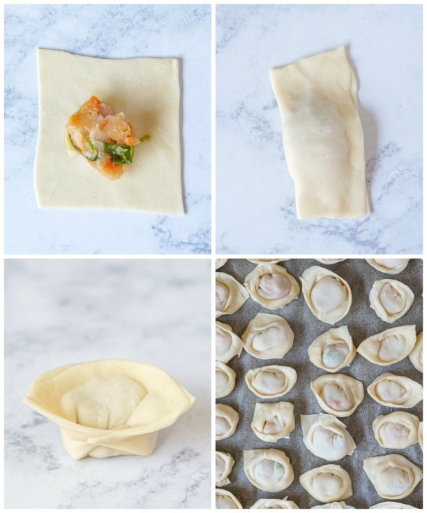 Forming Chicken dumplings- putting the filling in the center of a dumpling wrapper, folding in half, bringing the corners together, and placing on a parchment lined baking sheet.