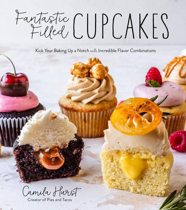 Cookbook cover- Fantastic Filled Cupcakes by Camila Hurst.
