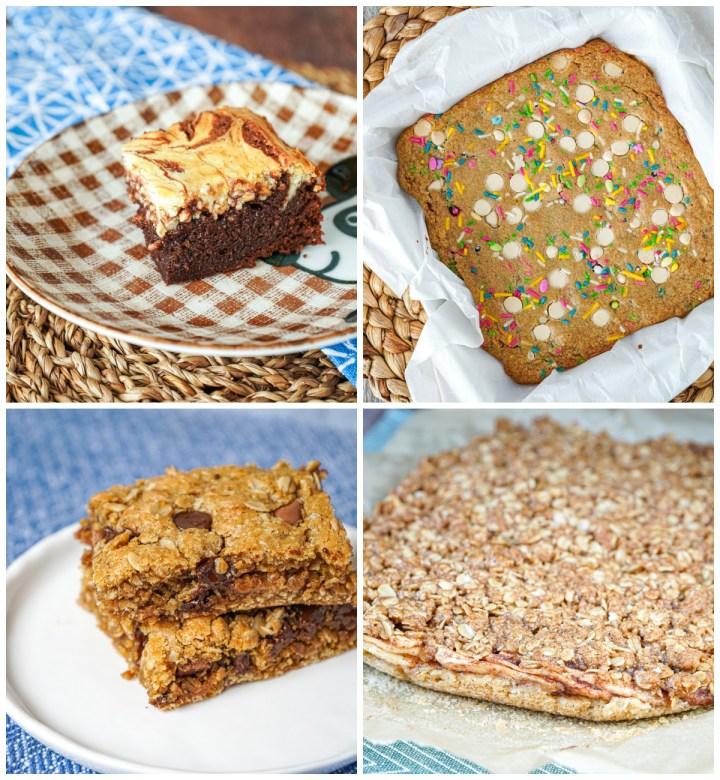 Vanilla Bean Cheesecake Swirl Brownies, Birthday Cake Blondies, Oatmeal Chocolate Chip Cookie Bars, and Apple Crisp Bars.