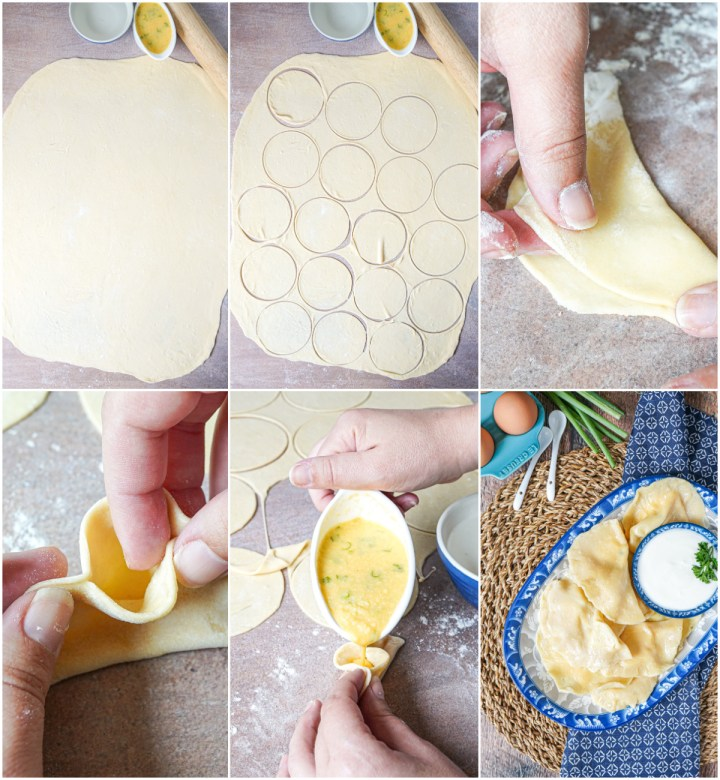Forming the Tuxum Barak (Khorezm Egg Dumplings)- cutting out circles, folding in half, and pouring in the egg.