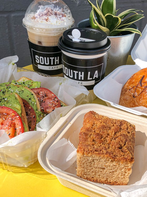 Coffee Cake, Avocado Toast, Croissant, and coffee from South LA Cafe.