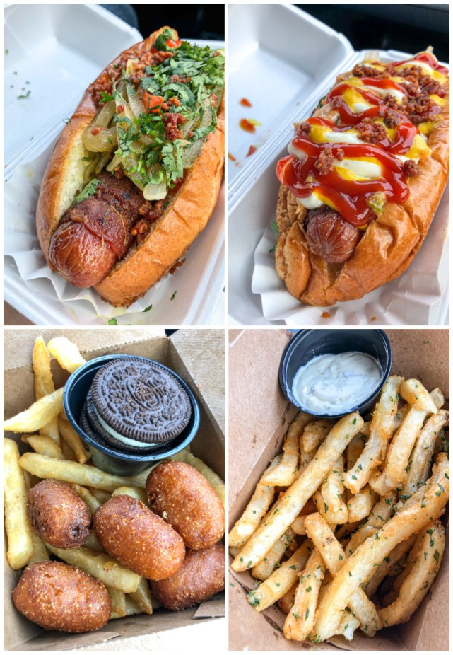 Bacon Wrapped Hot Dogs, Mini Corndogs, and Garlic Fries from Dirt Dog.