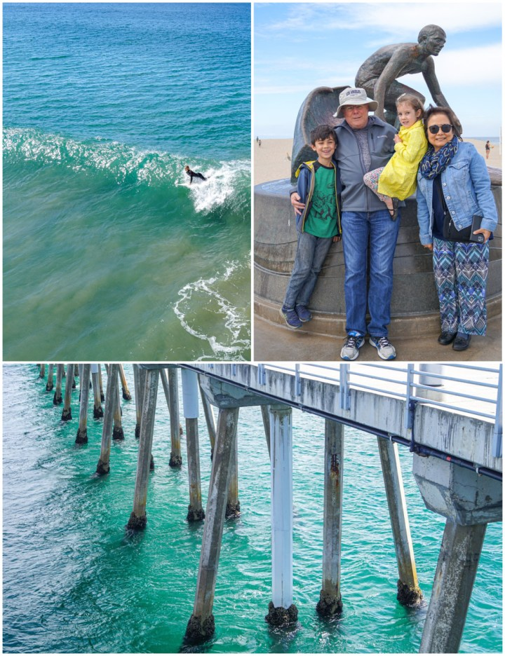 Three photo collage- girl surfing, family in front of surfing statue, and the poles under a pier.