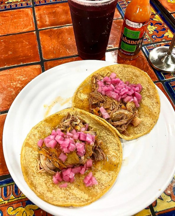 Tacos de Cochinita Pibil and Agua de Jamaica from Chichen Itza Restaurant.