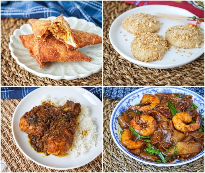 Samosa Daging (Beef Samosas), Muah Chee (Peanut Mochi), Ayam Masak Bawang (Onion Chicken), and Char Kuey Teow (Stir-Fried Flat Rice Noodles).