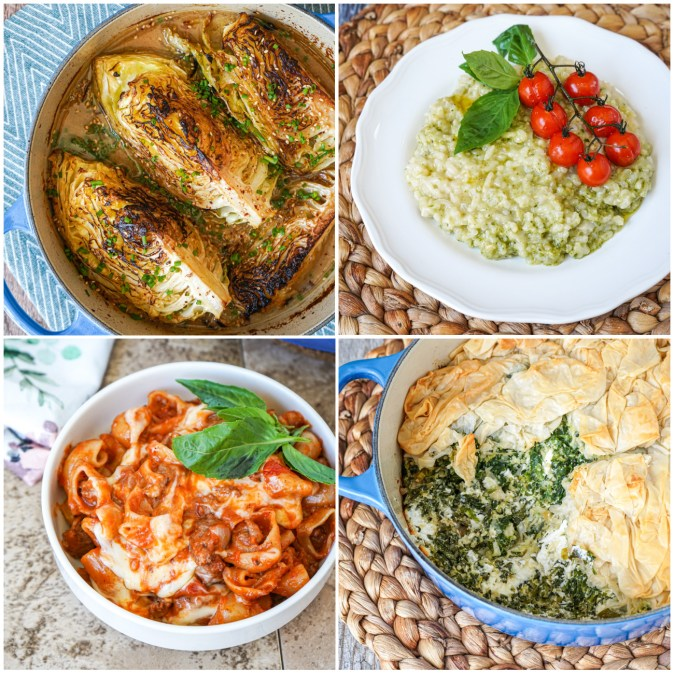 Miso-Braised Charred Cabbage, Baked Risotto with Pesto and Roasted Tomatoes, One-Pot Cheesy Sausage and Pasta Bake, and Ruffled Spanakopita Pie.