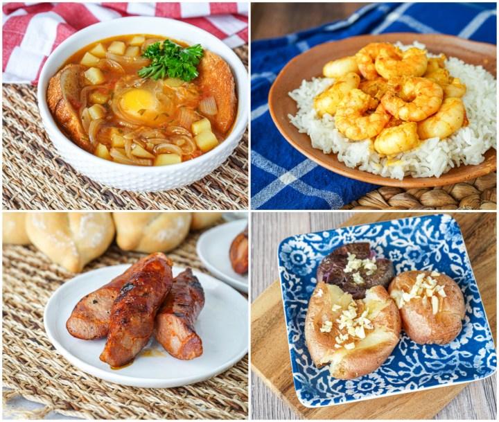 Sopa de Cebola (Onion Soup), Camarões de Caril (Curried Shrimp), Linguiça Grelhada (Grilled Linguiça), and Batatas à Murro (Punched Potatoes).