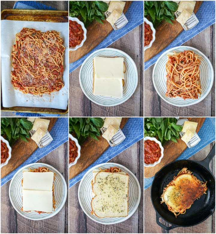 Arranging the Spaghetti Grilled Cheese sandwich with mozzarella cheese and grilling.