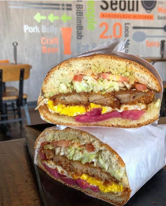 Katsu sandwich stacked on a plate at Urban Seoul 2.0.