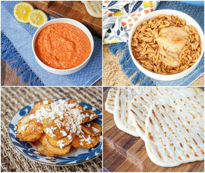 Piperki So Ovchjo Serenje (Roasted Pepper and Feta Cheese Dip), Gershla So Pileshko Meso (Chicken and Orzo), Przheni Kompiri (Fried Potatoes), and Pita Na Skara (Grilled Flatbread).