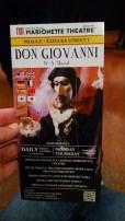 Marionette opera of Don Giovanni in Italian.