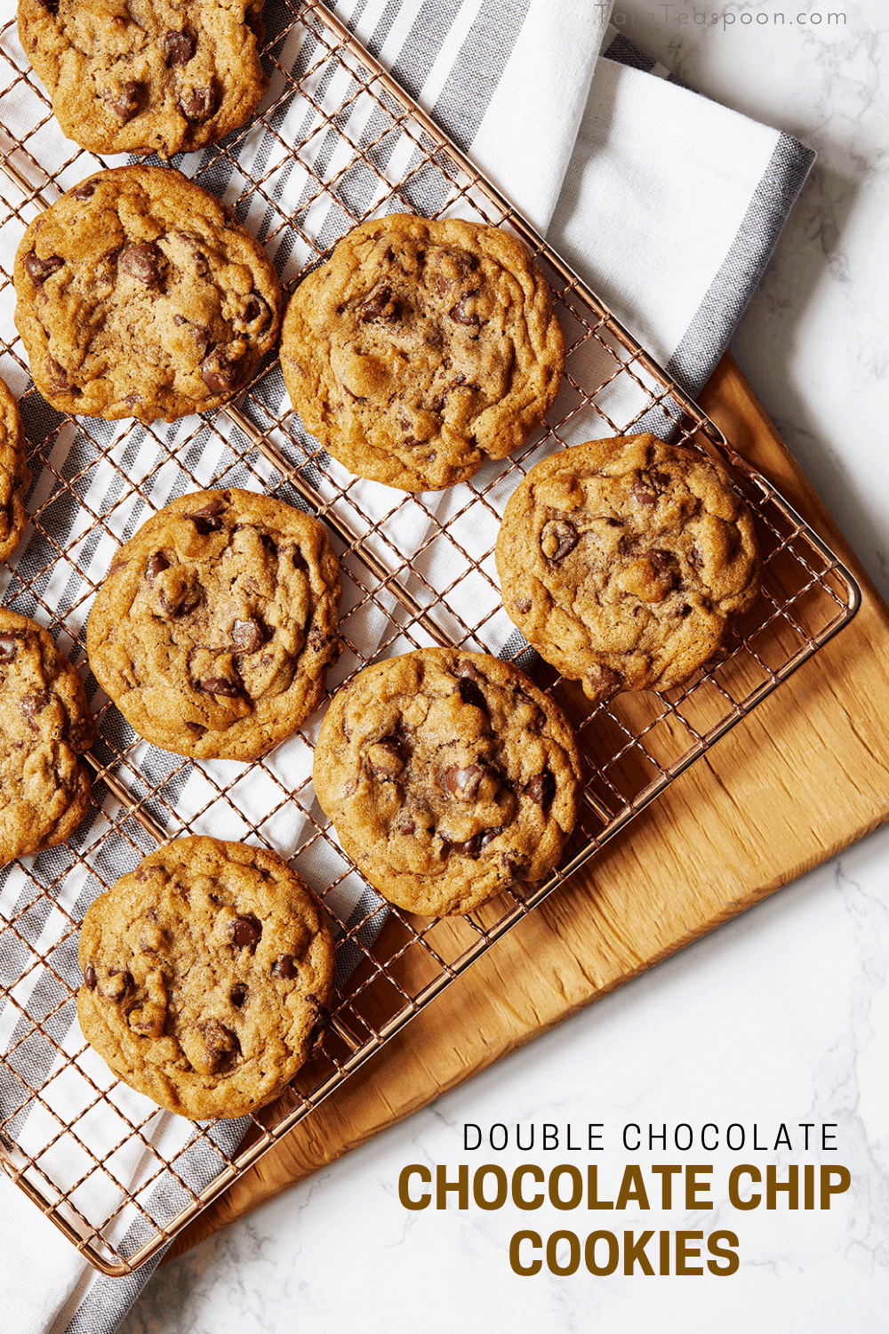 Cooling rack of chocolate chip cookies