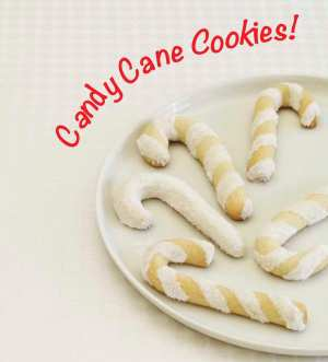 White Christmas Candy Cane cookies on a plate