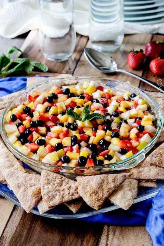 Rainbow Fruit Salsa Cheesecake Dip