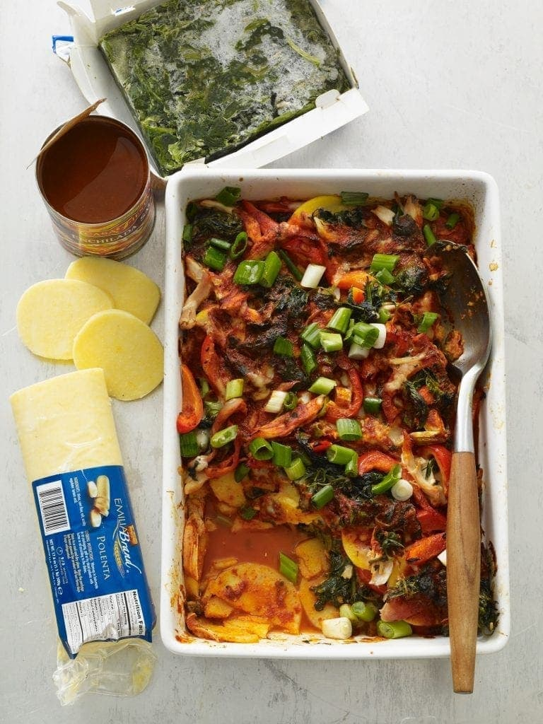 Spinach and Chicken Enchilada Casserole with ingredients