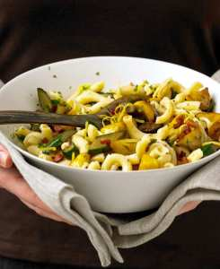 Squash and Pancetta pasta is a hearty, warm dish for dinner