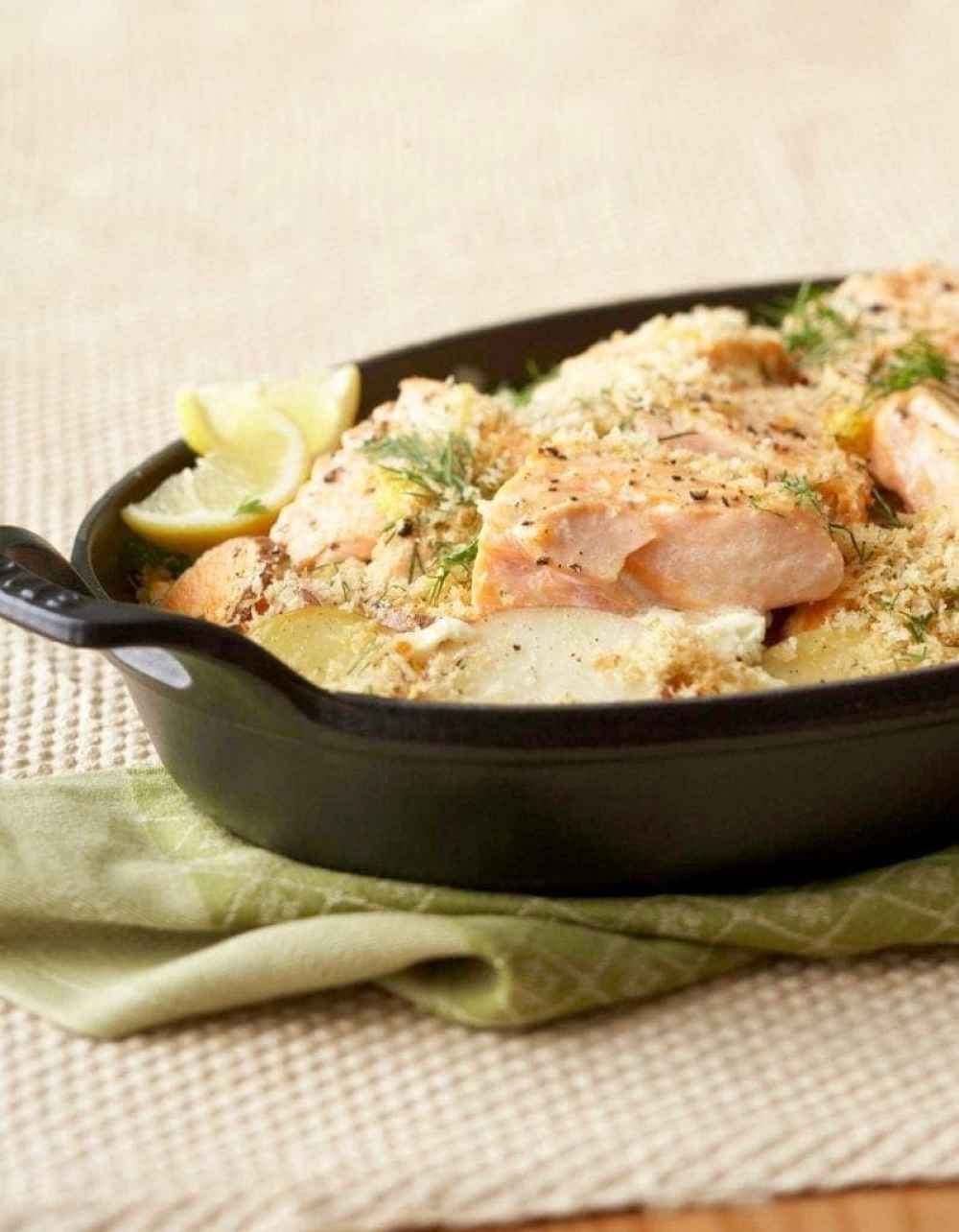 Easy Dinner Potato Salmon Bake is a delicious one dish meal