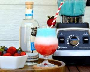 Layered red, white and blue strawberry colada is a fabulous addition to your 4th of July food and the Tara Teaspoon collection.