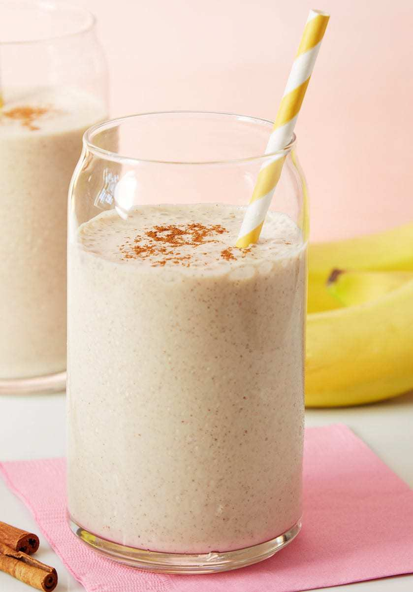 protein booster almond smoothie on a pink napkin