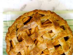 pecan streusel apple pie cooling