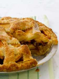 pecan streusel apple pie with slice out