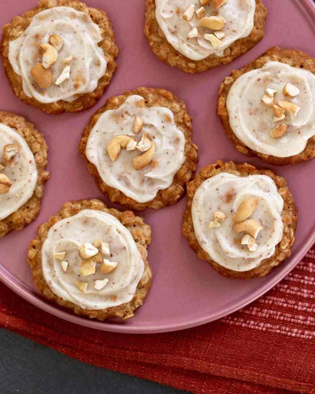 Cashew Cookies with Brown Butter Frosting overhead on a plate