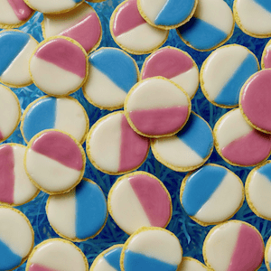 Pastel Black and White cookies for Easter
