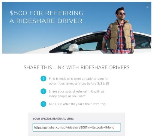 Uber driver referral promo July 2015
