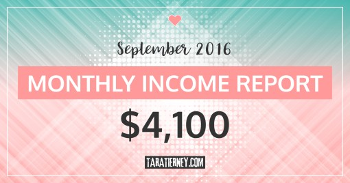 Monthly Blogging Income Report – September 2016