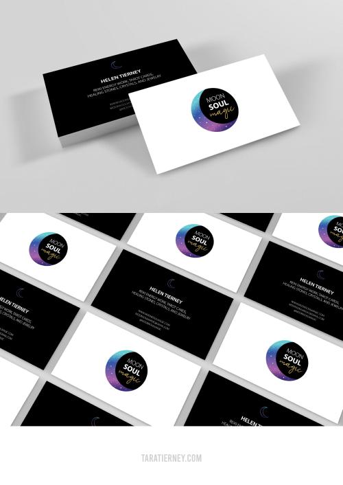 Black White Purple Business Cards - Moon Soul Magic