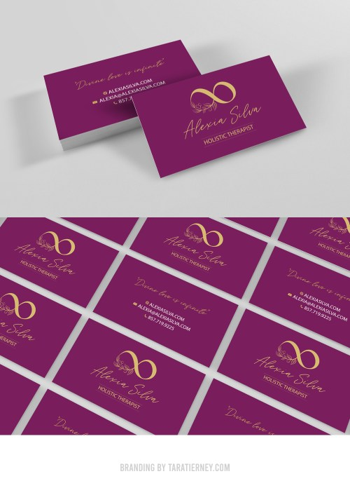Gold and Burgundy Business Cards Alexia Silva